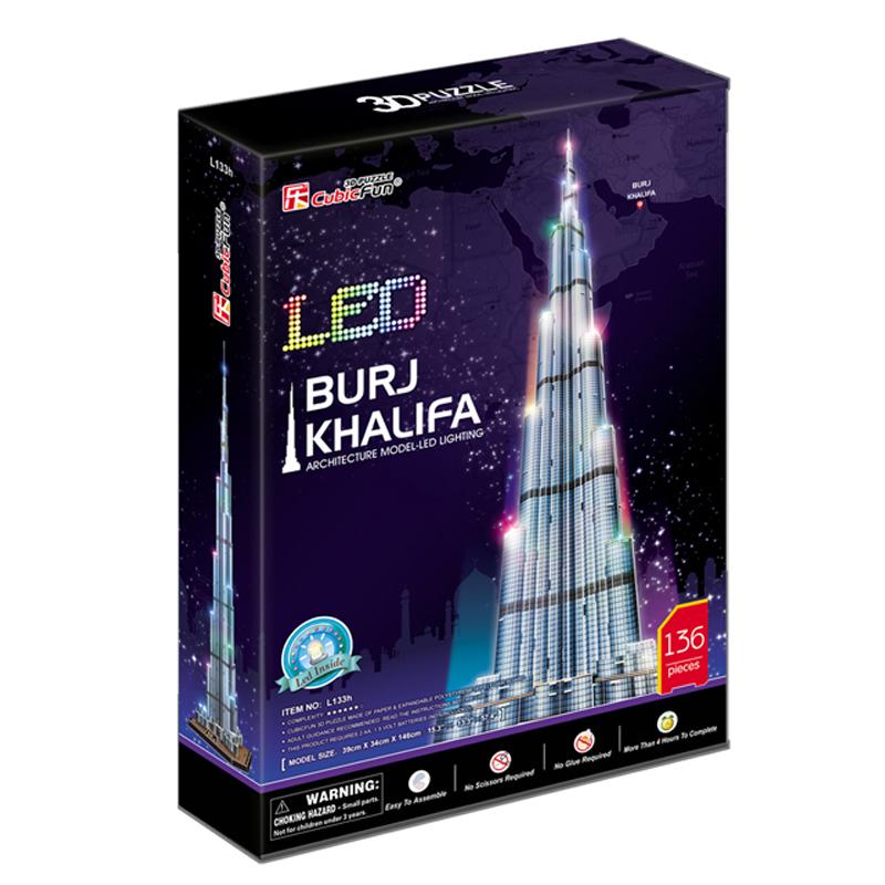 Birthday Gifts Cubic Fun 3D Puzzle LED Burj Khalifa (Dubai) Model DIY Puzzles for Adults, Children Kids Toys Educational Toys(China (Mainland))