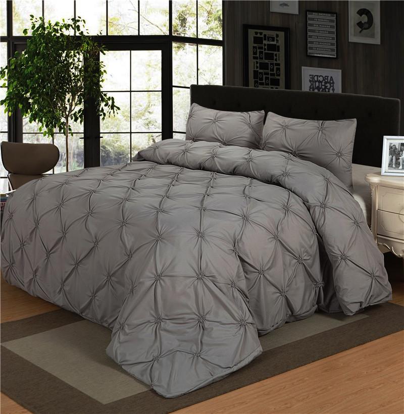Luxury Bedding Sets Brown Grey Home Textile Pinch Pleat 2