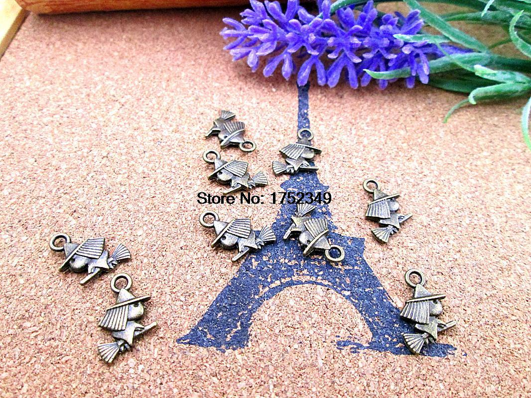 120pcs-Witch Charms Antique Copper Tone 2 Sided Too Cute 14*11mm(China (Mainland))