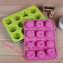 1Pcs 20*16cm High Quality DIY Kitchen Muffin Cake Bakeware 12 Flowers Silicone Rubber Baking Mould Chocolate Egg Tart Mold Form(China (Mainland))