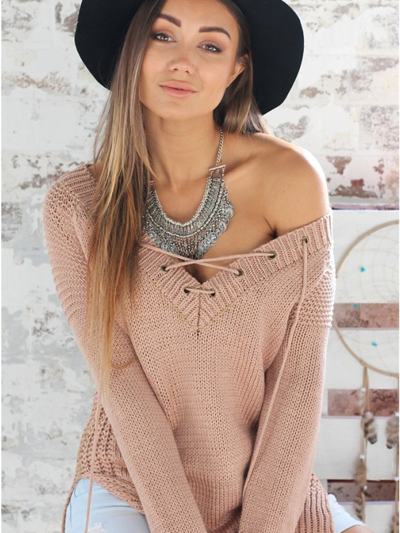 Women Sexy V-Neck Long Sleeve Knitted Sweater Lace Up Side Split Casual Pullover New Winter Sweaters 2015(China (Mainland))