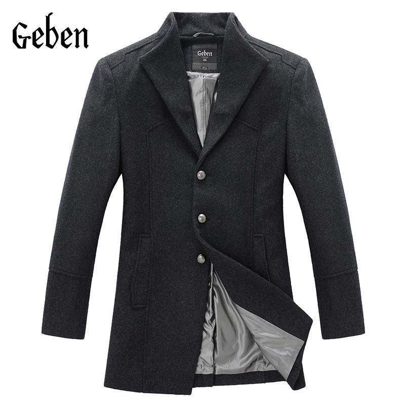 2015 Male Manteau Homme Overcoat Winter Wool Coat Men Long Coat black S 2XLCasaco Masculino