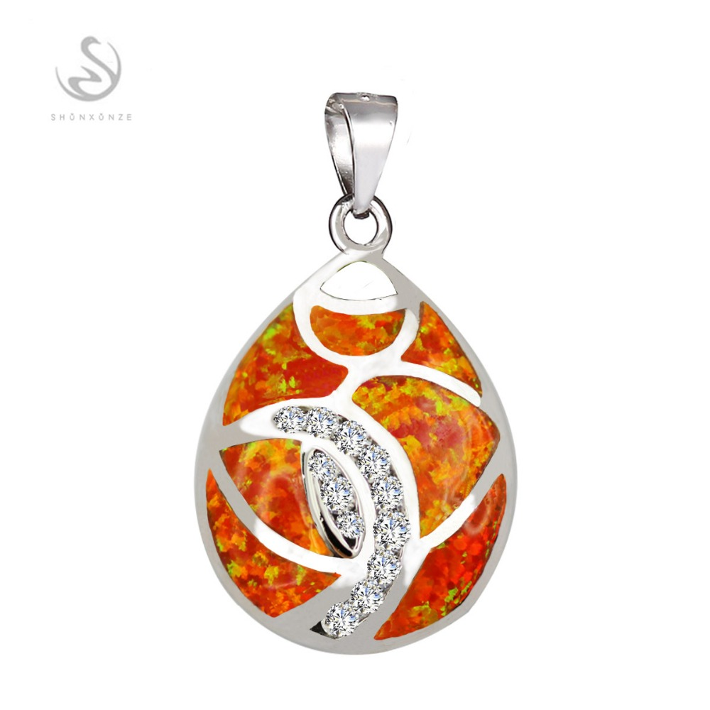 First class products Favourite 925 sterling silver jewelry Best Sellers Fancy orange opal Pendants S--P003 Recommend Romantic(China (Mainland))