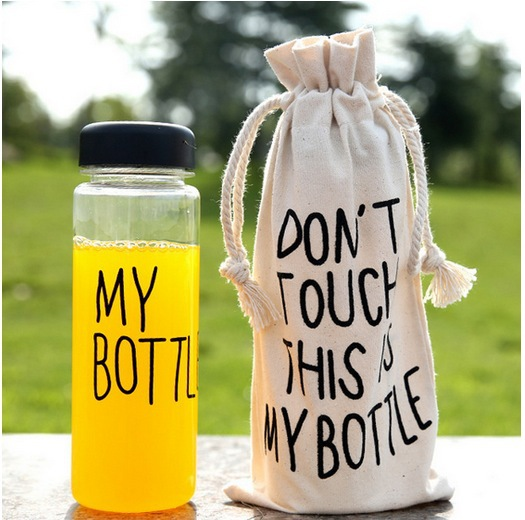 my bottle 500 ml Plastic Clear Portable Sportive Water Bottle With Gift Bag(China (Mainland))