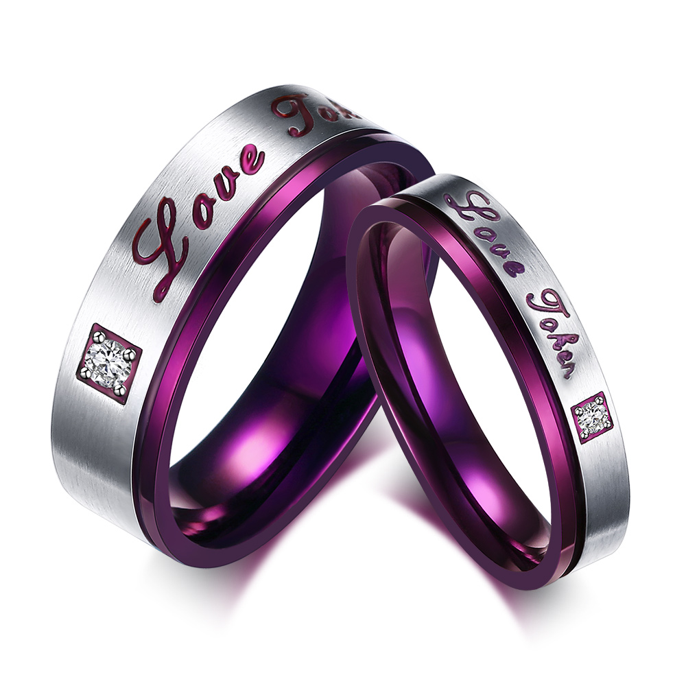 "CZ Diamond Lover Ring Valentine Gifts Women Men's ""Love Token"" Stainless Steel Love Promise Ring Engagement Wedding Bands Purple(China (Mainland))"