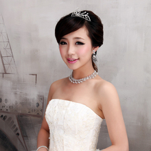 New design flower crystal pearl Bride 3pcs set necklace earring Tiara Bridal wedding jewelry set accessories women(China (Mainland))