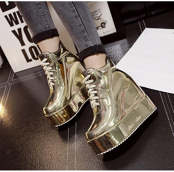 Platform elevator platform martin boots female fashion preppy style sexy cross straps ultra high heels wedges boots