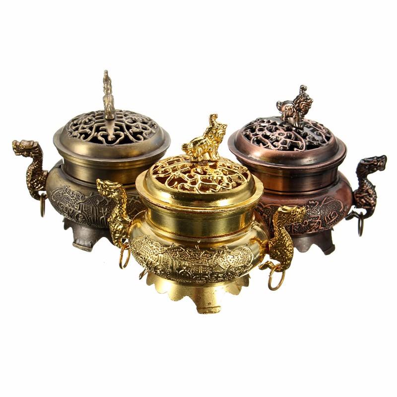 Elegant Multifunction Metal Craft Mini Alloy Antique Bronze Incense Burner Sandalwood Censer Tibetan Incense Burner Home Decor(China (Mainland))