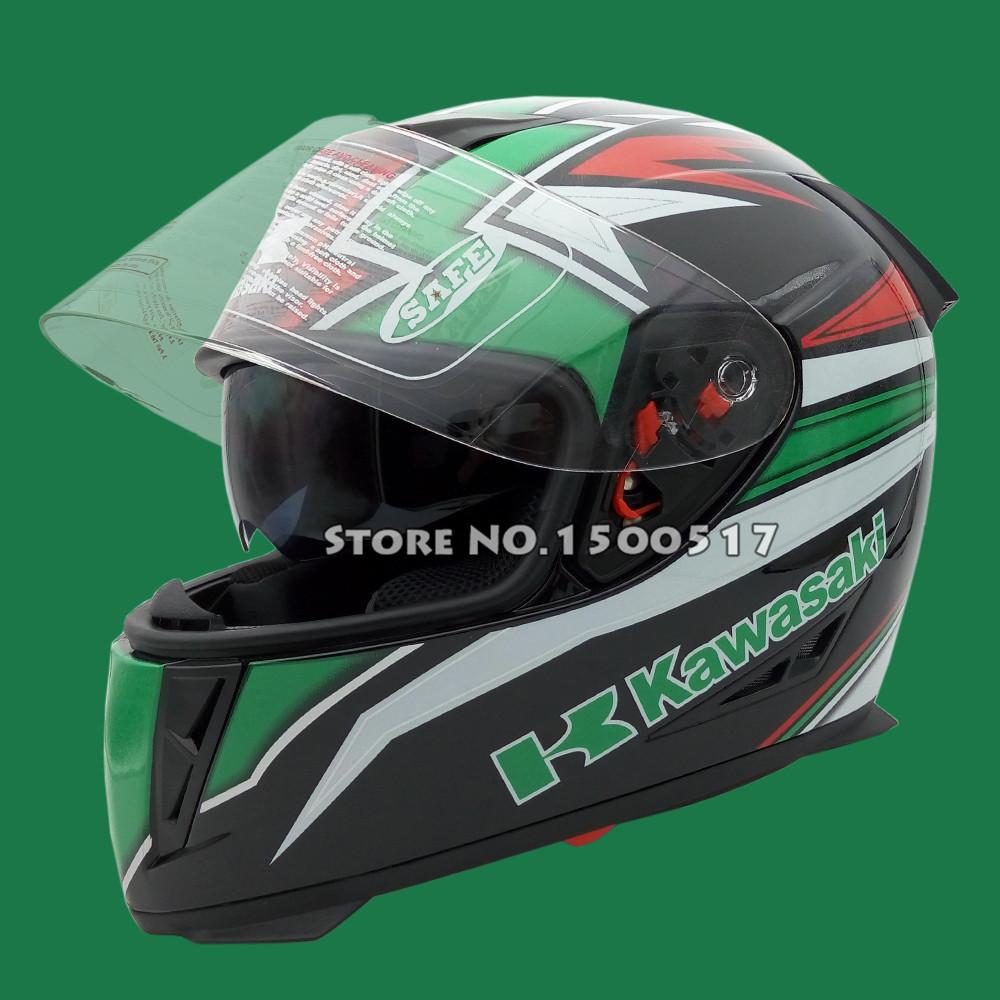 New Kawasaki Dual Visors Full Face Motorcycle helmet Racing capacetes Double Lens Moto Motocicleta Casco Casque Kask S M L(China (Mainland))