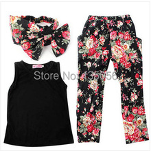 2015 New arrival Girls' suits of floral t-shirt + pants + headband scarf girls casual vest harem pants kids clothes free ship(China (Mainland))