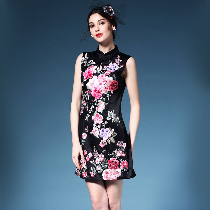 Vintage Party Dress 2016 new Spring High quality Chinese Style Women Embroidery dress XXL Elegant Clothing summer mini dresses(China (Mainland))