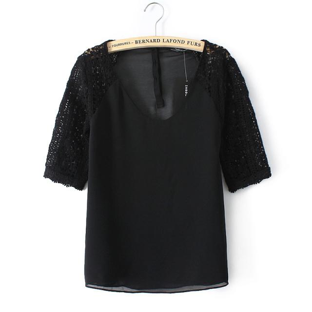 Spring Summer Designer 2015 Fashion Ladies Crochet Lace Patchwork Sleeve Chiffon Blouse Blouses Blusa(China (Mainland))