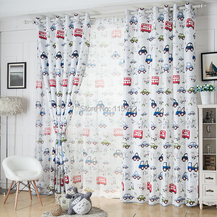 cartoon curtain real boy child car shade cloth home design