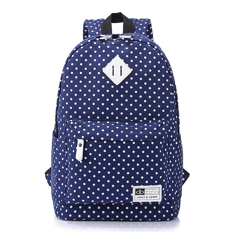 2016 Hot Brand New Fashion Women Girls Canvas Backpack Polka Dot School Shoulder Bag Travel Rucksacks(China (Mainland))