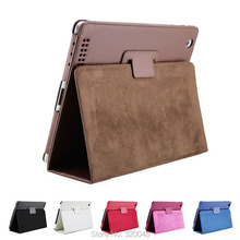 Business Flip Litchi Leather Case For new ipad3 ipad 4 Smart Stand Holder For Apple ipad2 3 4 Magnetic Auto Wake Up Sleep Cover(China (Mainland))