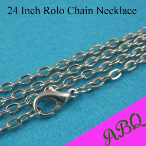60cm (24 inch) Dark Silver Rolo chain necklace, Link Chain, Cable Chains Great to Match Antique Silver Pendants(China (Mainland))