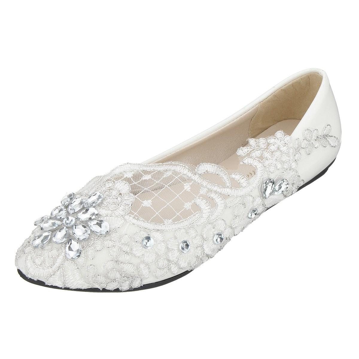 wedding lace bridal crystal shoes women flat heel pure white