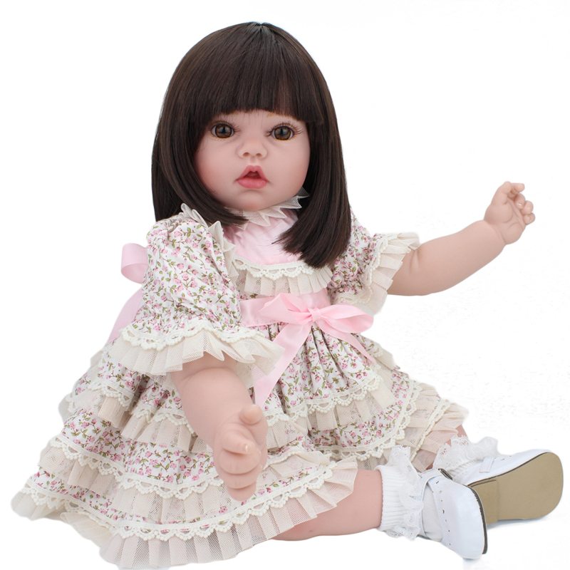 55cm silicone-reborn-baby-dolls  liflike girl princess dolls with short hair reborn bonecas kids toys bebes<br><br>Aliexpress