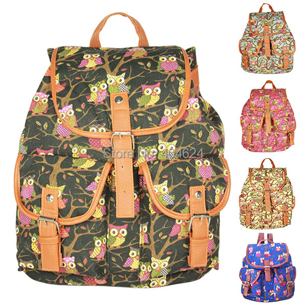 New Fashion Women Bag Casual Oversized Floral Printing Owl Backpack Student School bags Teenagers Sport Women Backpack Female(China (Mainland))