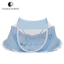 New Baby Crib 0-3 Years Baby Bed With Pillow Mat Set Portable Foldable Crib With Netting Newborn Cotton Sleep Travel Bed HK357(China (Mainland))