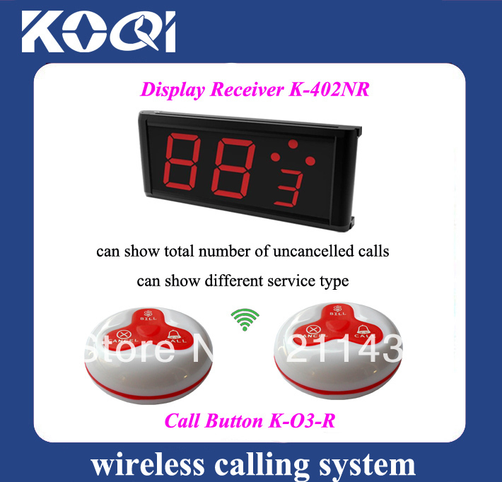 Numbering equipment wireless pager system A set of 1pc call display K-402NR and 8pcs Red Table buzzers K-O3 DHL free shipping(China (Mainland))
