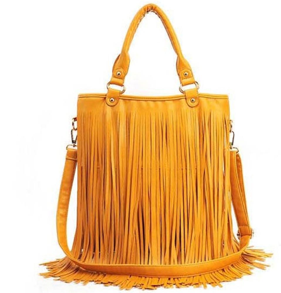 European&American Star Fashion Tassels Bags Women PU Leather Handbags Messenger Bags Large Capacity Shoulder Bag Tassel Fringe(China (Mainland))