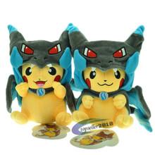 22cm Cute Pokemon Pikachu Cosplay Charizard Plush Toys Kawaii Anime Roles Stuffed Dolls Toys for Baby Kids Gift