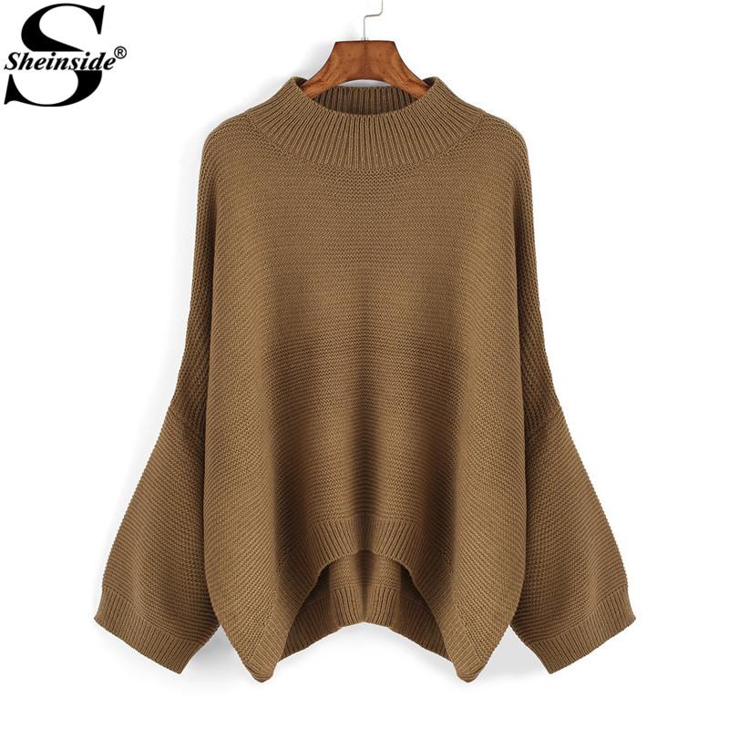 Sheinside Hot Sale Latest Style High Street Brand New Arrival Korean Designer Autumn Round Neck Loose Dip Hem SweaterОдежда и ак�е��уары<br><br><br>Aliexpress