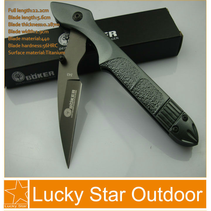 Boker Hand Tools Camping knife 440C 56HRC all steel handle aluminium alloy Unique Gift Knife 5pcs/ Lot good knife free shipping(China (Mainland))