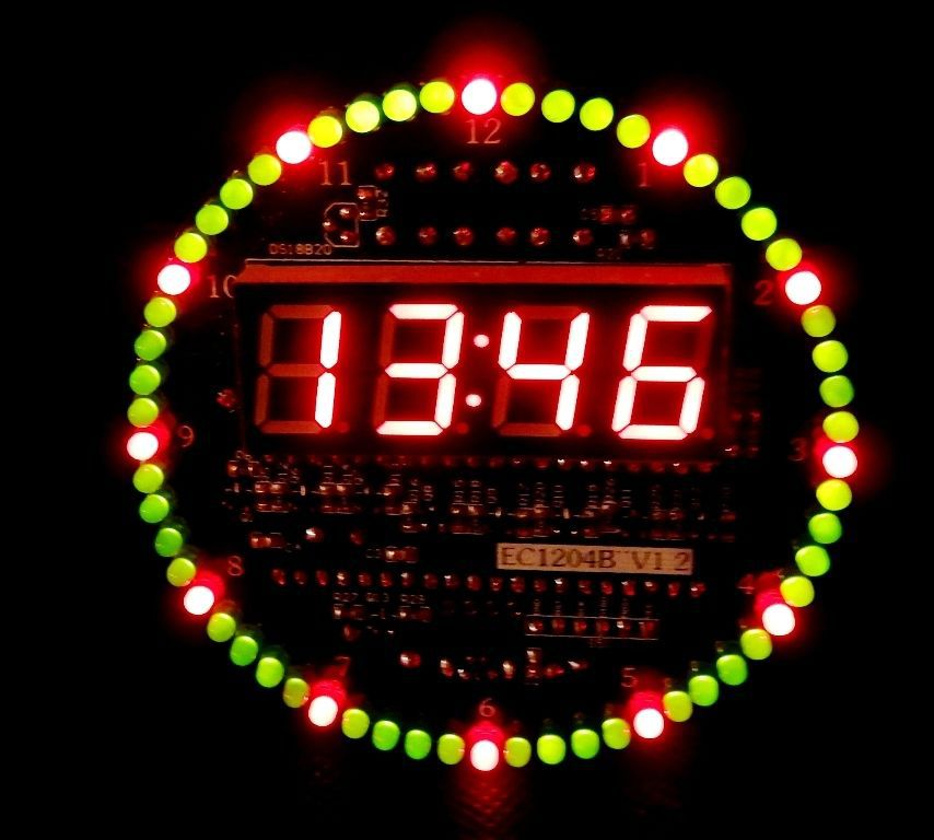 DIY DS1302 Rotating LED Electronic Digital Clock Kit 51 SCM Learning Board 5V xp(China (Mainland))