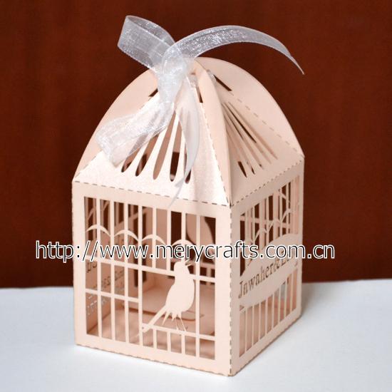 Remessa grátis pela China post! 100 pcs de custom made laser cut caixa favor do casamento gaiola de pássaro(China (Mainland))