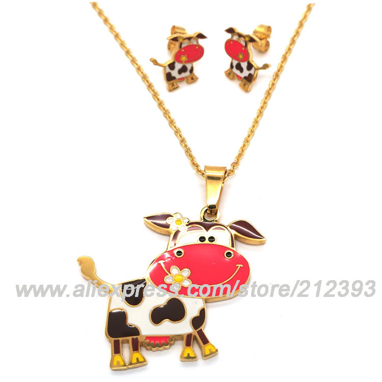 Lovely Cow Costume Jewelry Set Italian Gold Plated Stainless Steel Colorful Enamel Animal Pendant Earrings Jewelry Set For Kid(China (Mainland))