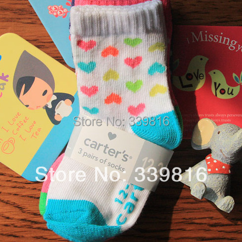 24 Pieces=12 Pairs/lot Wholesale! Cute Baby Boy/Girl's Original Carters Cotton Socks for Infant Bebe 1-2 Years(China (Mainland))
