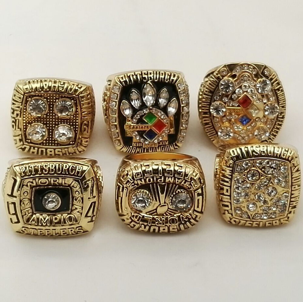 Factory direct sale High quality 1974/1975/1978/1979/2005/2008 Pittsburgh Steelers Super bowl Championship Rings 6 Years Sets(China (Mainland))