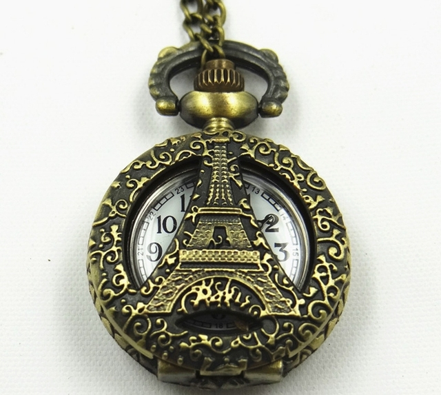 Free Shipping Wholesale Commemorate Necklace Hollow out Retro Eiffel Tower Pocket Watch Men and Women Chain Watch Kids Gift