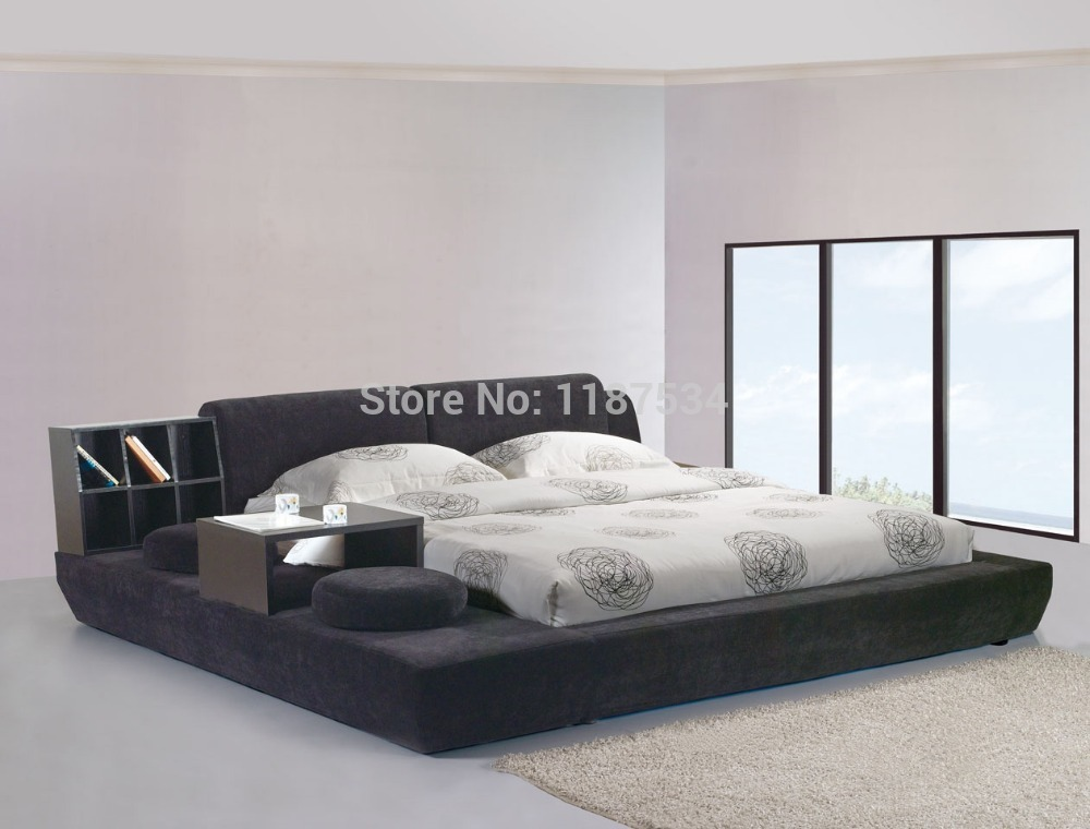 modern bedroom furniture luxury bedroom furniture bed frame king size bed fabric double soft bed E603(China (Mainland))