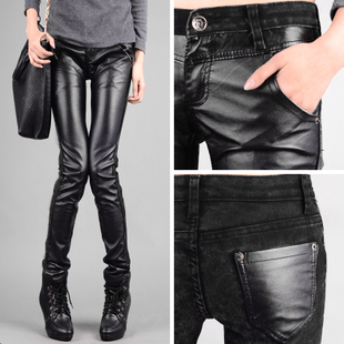plus size women clothing leather pants 2015 the new fashion winter jeans Trousers High quality Leisure PU Stretch Pencil pants(China (Mainland))