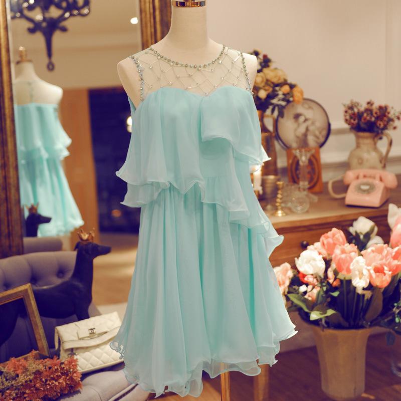 High-end Fashion Celebrity Style beaded Hollow out Chiffon dress(China (Mainland))