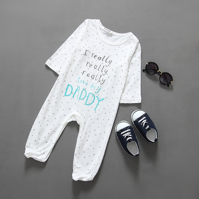 2016 baby I love mom and dad onesie baby Rompers Girls Boys Cotton Clothes(China (Mainland))