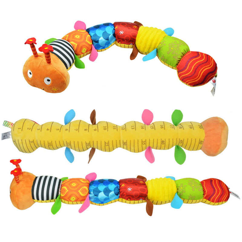 55cm soft Baby Toys Musical stuff Caterpillar with Ring Bell Cute Cartoon Animal Plush creative Doll Early Educational(China (Mainland))
