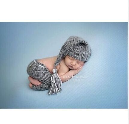 Newborn baby photo props handmade Pants Knit and Elf night Cap hat for Photography Props baby studio props accessories(China (Mainland))