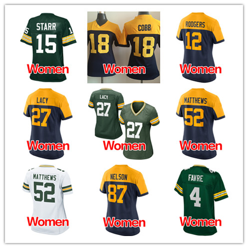 Women's #52 clay matthews #12 aaron rodgers Ladies #4 Favre #15 Starr #87 Nelson #27 Lacy #18 Cobb embroidery Logos Elite(China (Mainland))