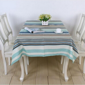 High-grade quality Europe Mediterranean Blue polyester fabric stripe table cloth trade waterproof table mat(China (Mainland))