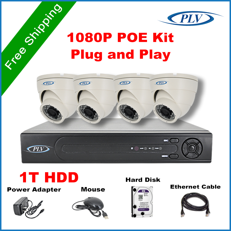 New Product Full HD 4 CH POE 2.0MP Outdoor Waterproof CCTV System Kit 4 Channel Video Surveillance 1080P Dome Camera PoE NVR Kit(China (Mainland))