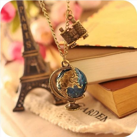 new Vintage Terrestrial globe Telescope long body sweater chain antique Bronze Necklaces pendants for women jewelry