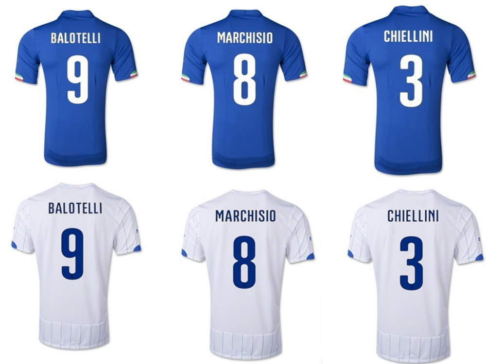 Italy home football cup soccer jersey 9# BALOTELLI short sleeve football uniforms 1516 best thai quality free shipping(China (Mainland))