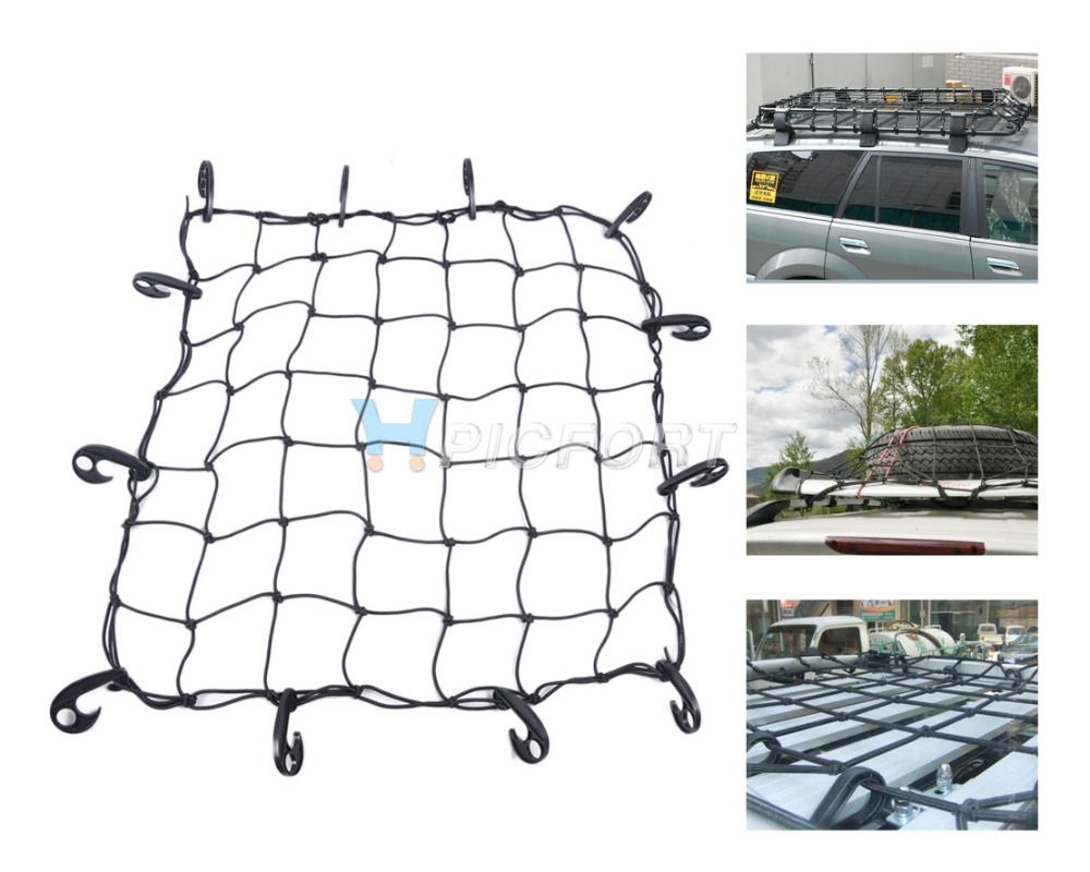 Free shipping & Tracking # Elastic Bungee Car / SUV/ Truck/ Trailer Cargo Roof Rack Basket Net w/Hooks 70x70cm - CA01364(China (Mainland))