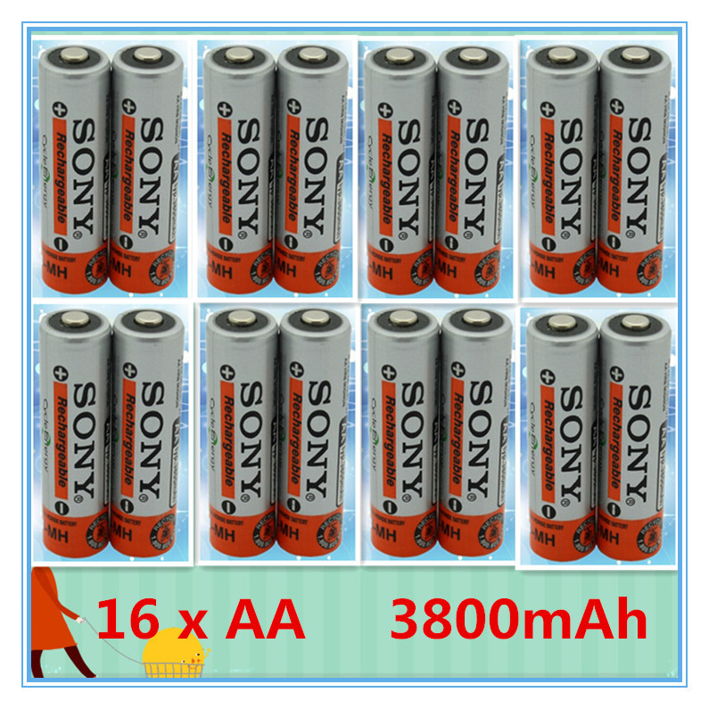 16 pcs ni-mh aa rechargeable batteries 1.2v 3800mah for Sony / battery ni-mh 1.2v nimh batteria pilas recargables aa cell(China (Mainland))