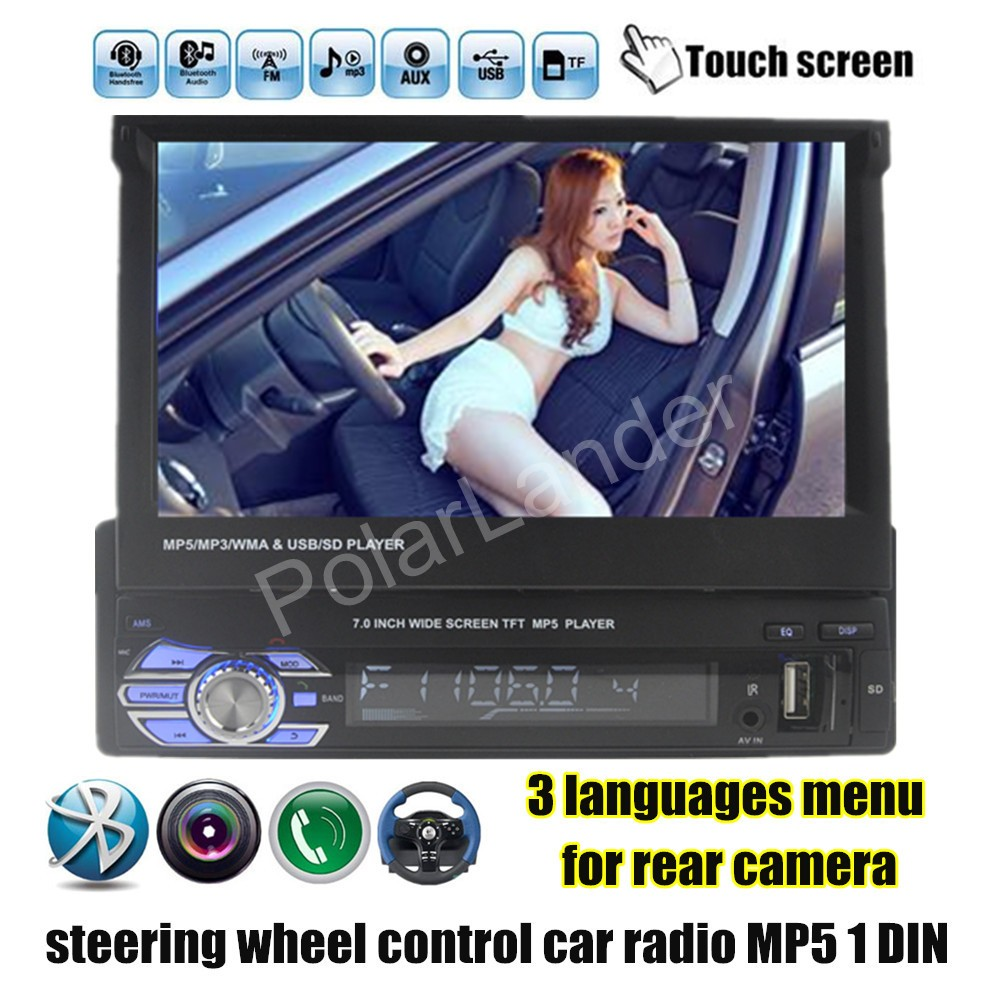 hot 1 Din Radio Car Stereo Audio 7 inch MP5 MP4 Player Aux/USB/TF/FM/touch screen/bluetooth 3 languages menu auto video(China (Mainland))