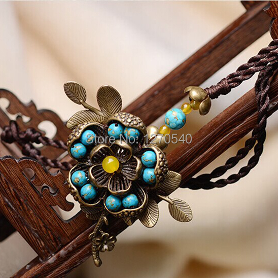 Blue Turquoise thailand jewelry ethnic flowers necklace ,New vintage Jewelry Chinese Wind traditional tibetan pendants necklace(China (Mainland))
